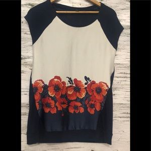 JACOB cap sleeve top w/ silk floral front panel